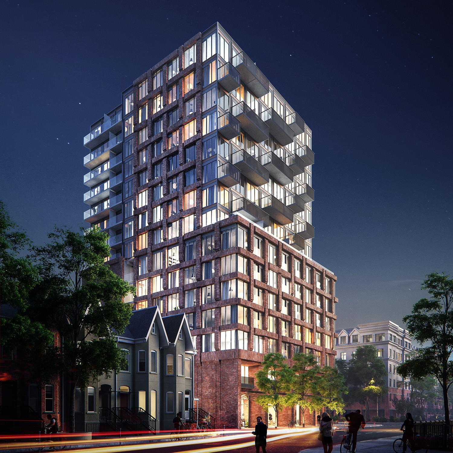 architectural rendering of a 15-storey condo with red brick woven pattern podium and glazing and protruding balconies on the upper portion of the north and south facades