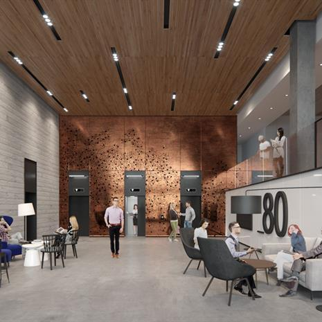 rendering of a lobby featuring wood ceiling and a bronze elevator bank wall