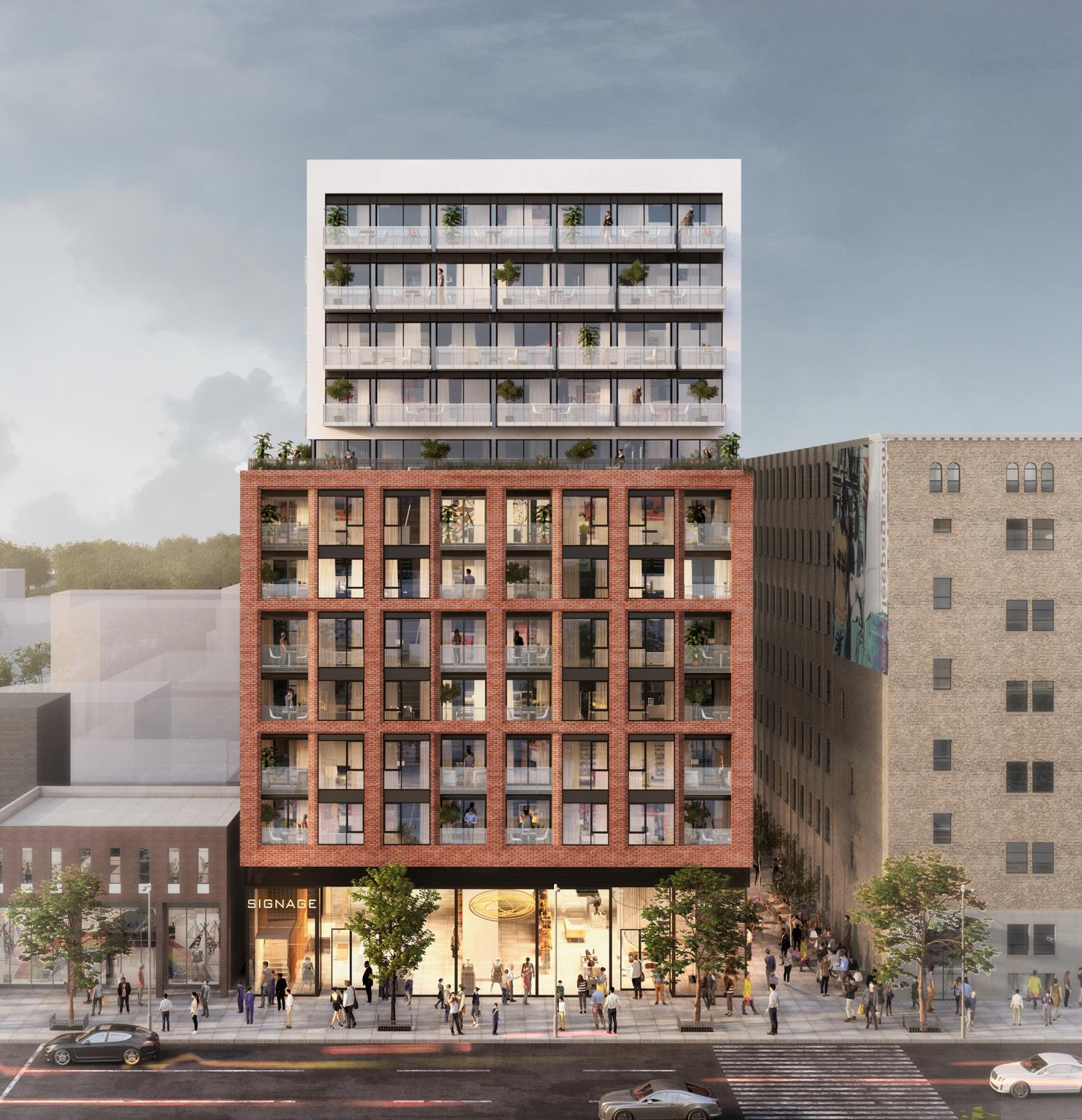 rendering of a 12-storey condo on a busy urban stretch with double-height glazed retail at grade, 6 storeys framed in red brick with inset balconies, and the top 4 floors set back with white cladding