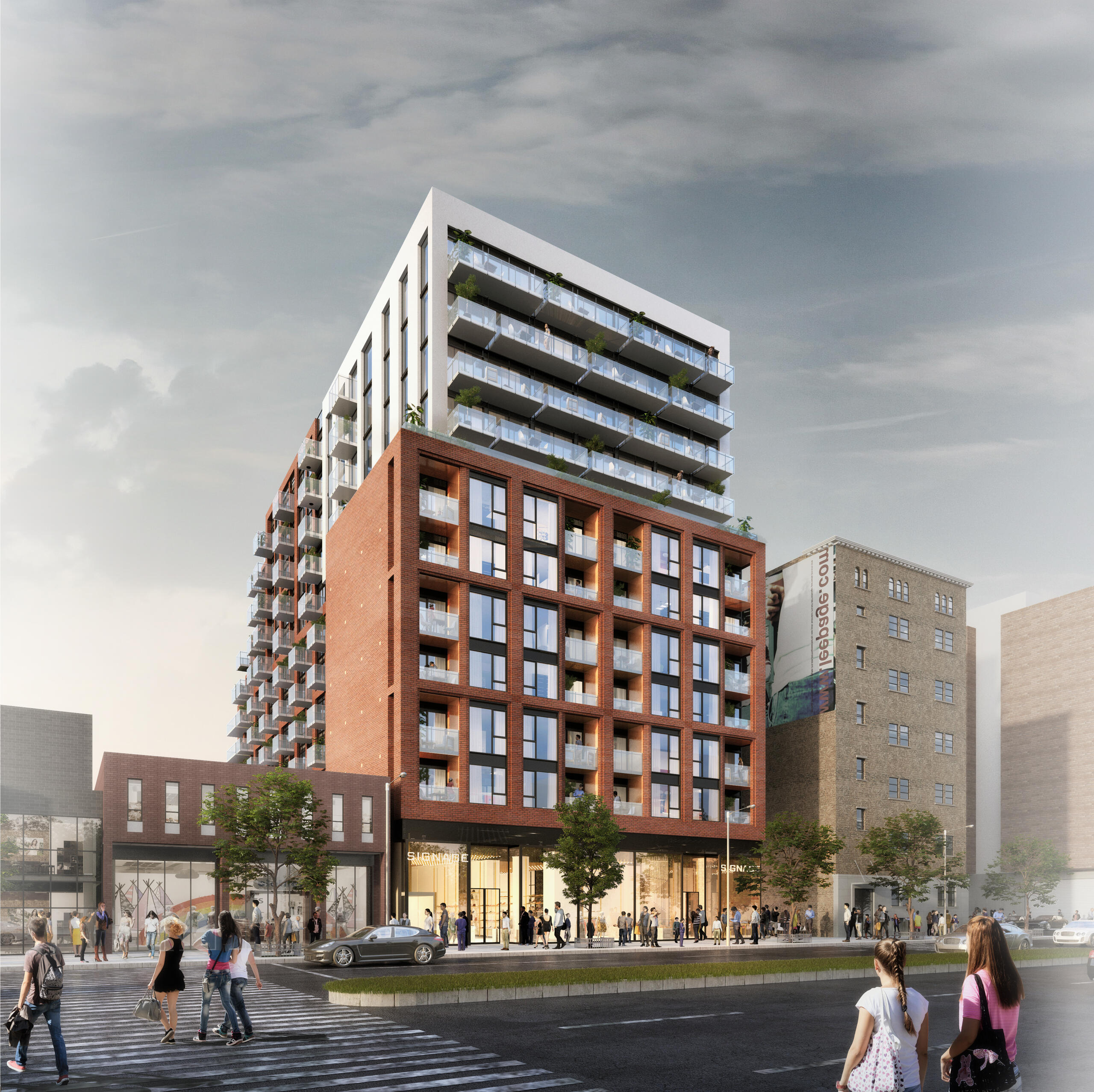 rendering, viewed from sidewalk across the street, of a 12-storey condo on a busy urban stretch with double-height glazed retail at grade, 6 storeys framed in red brick with inset balconies, and the top 4 floors set back with white cladding