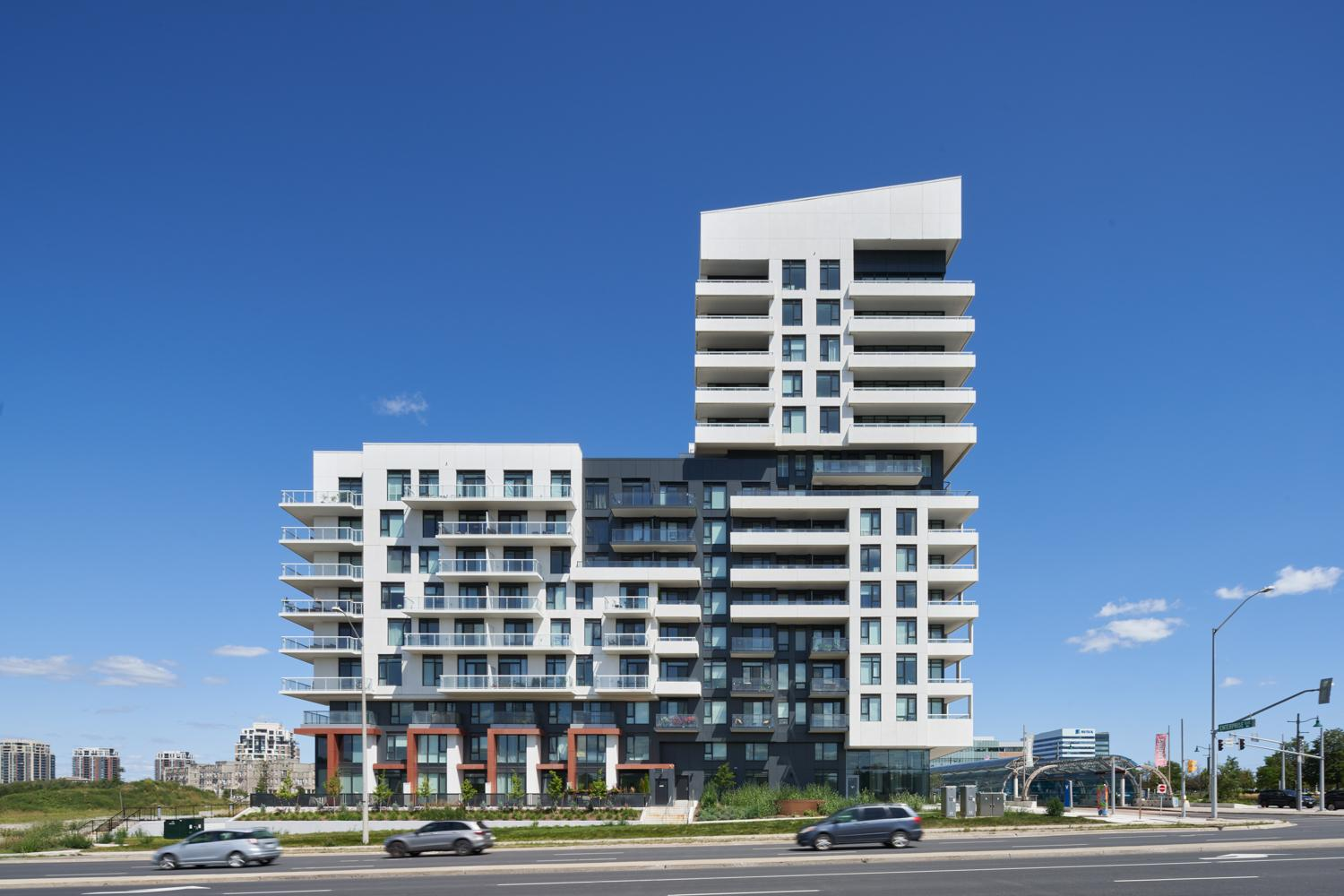 York Condos profile of the building showing white clad balconies