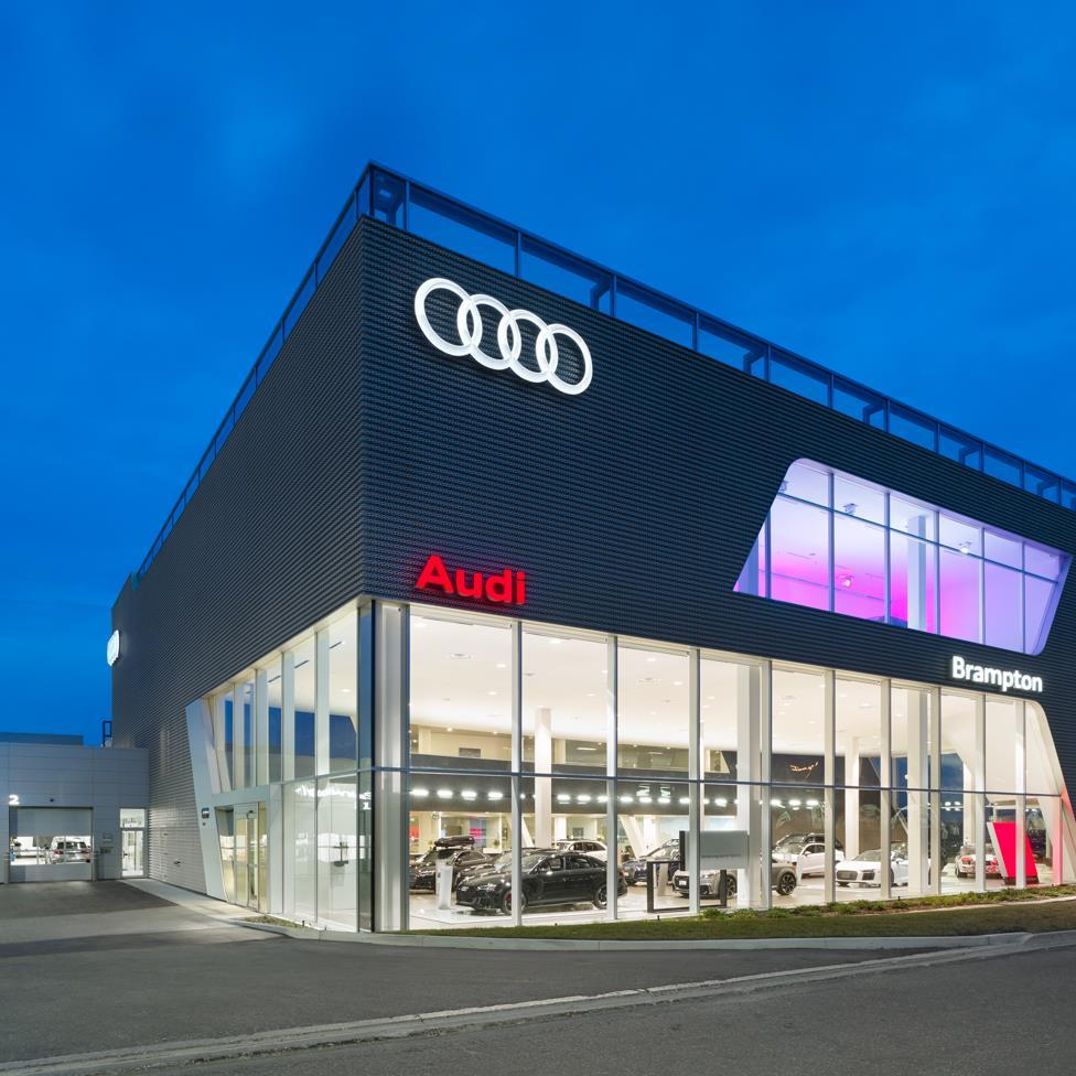 Audi Brampton dealership at dusk