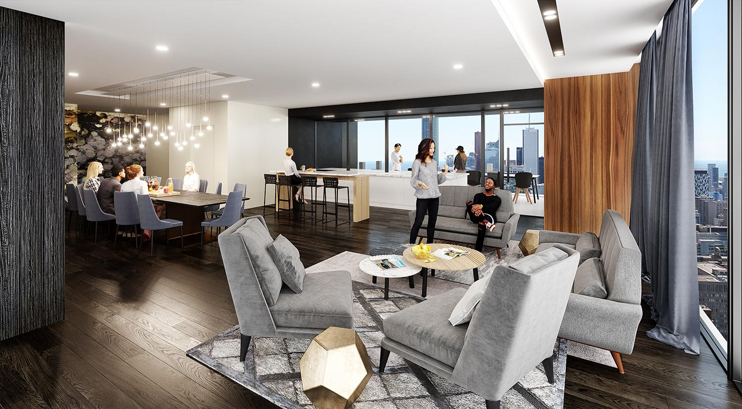 rendering of a party room amenity with comfy grey chairs and stylish finishes in 700 Bay