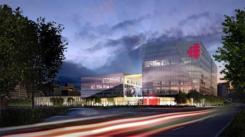 rendering of the exterior of Maison Radio-Canada
