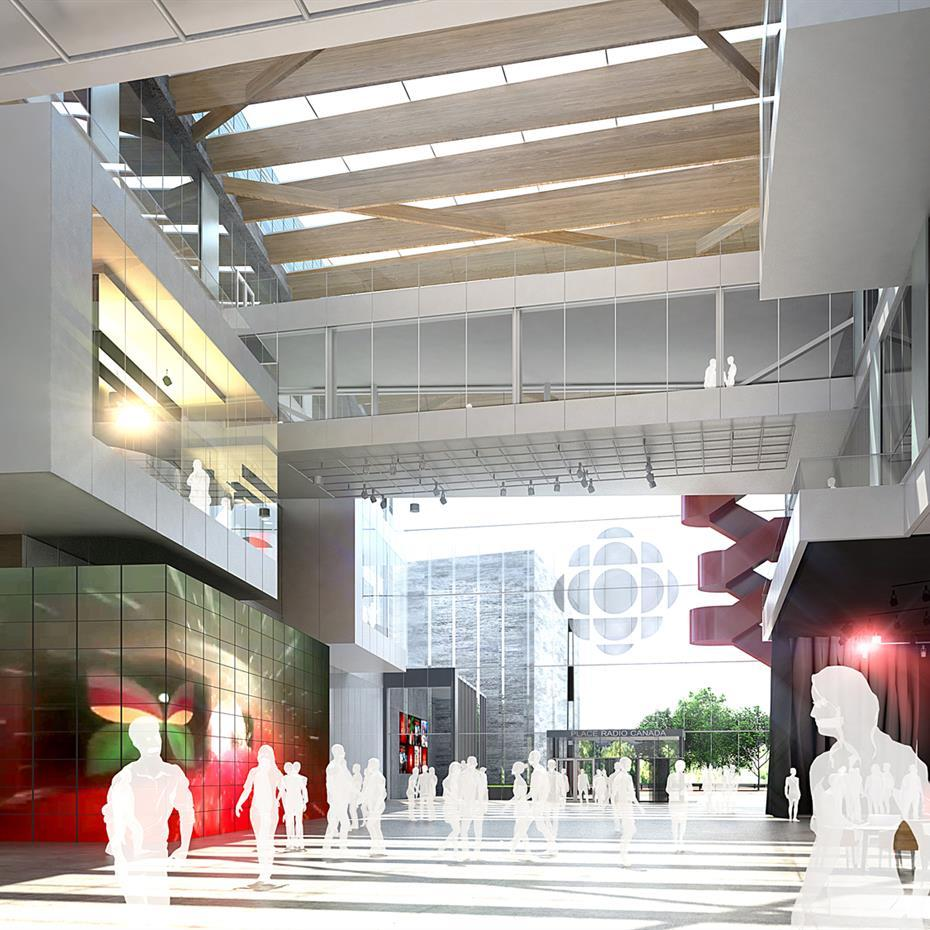 rendering of the interior lobby of Maison Radio-Canada