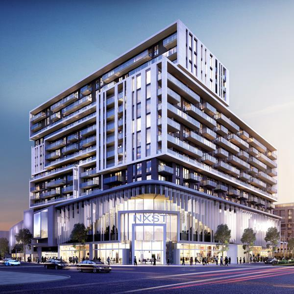 rendering of a mixed-use building with several floors of retail in the podium and condominium uses on top, at a busy street corner