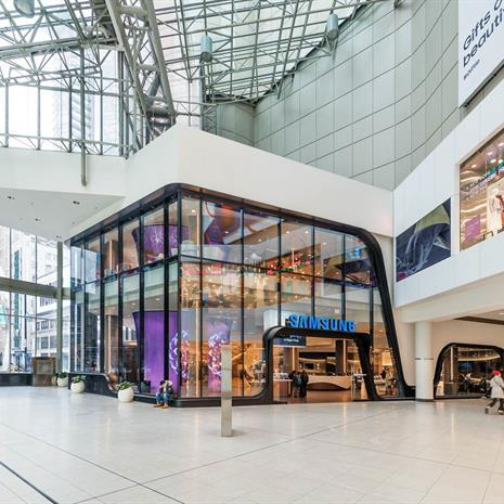 View of the Samsung Experience Store from inside the Eaton Centre.
