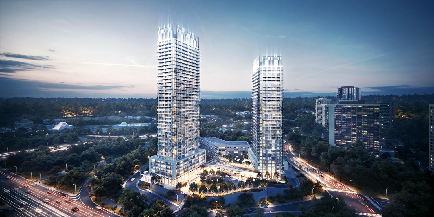 rendering showing two shimmering condominium towers next to a major highway
