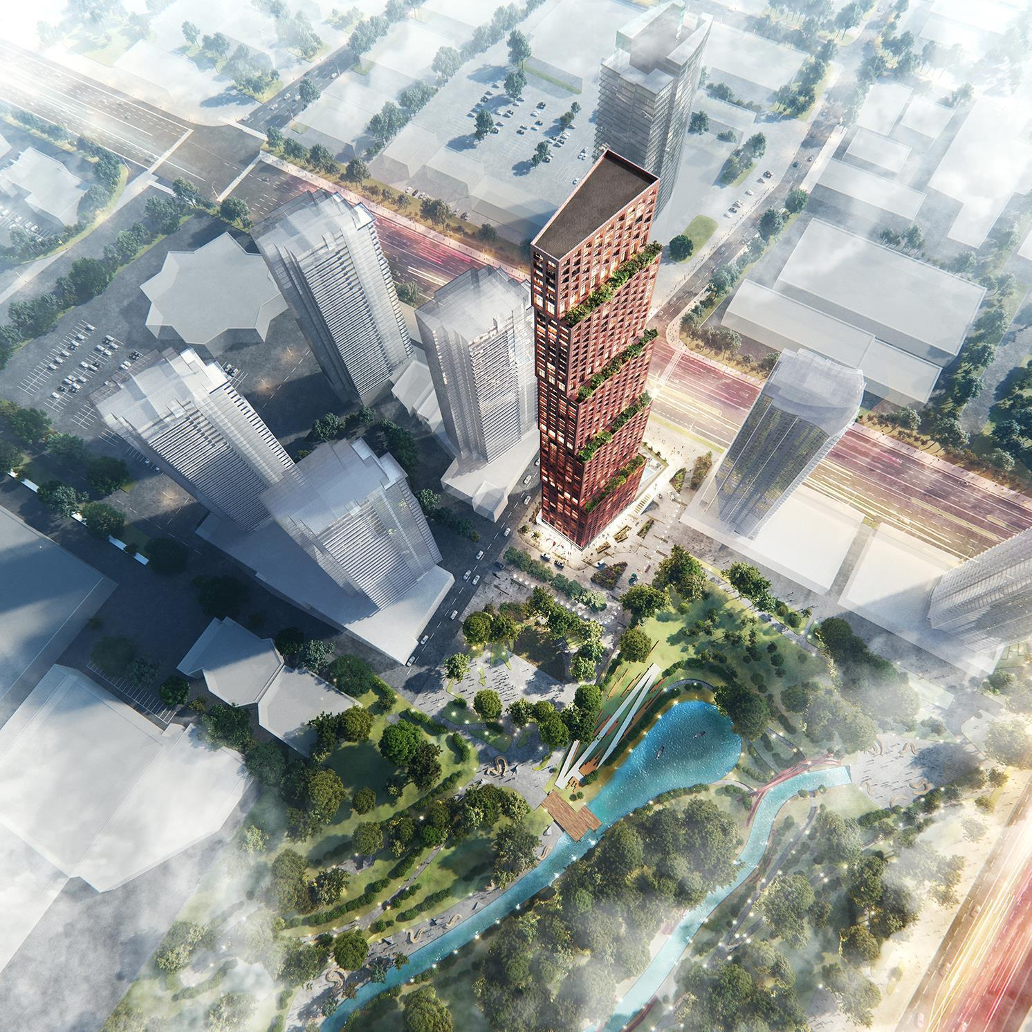 Aerial rendering of a distinctive copper coloured high-rise with lush green terraces adjacent to a park