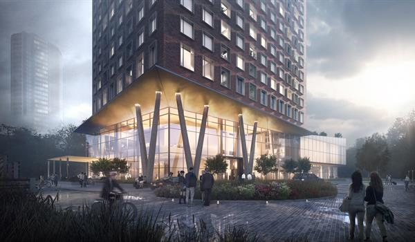 rendering of the two-storey glazed podium entrance of Expo City 5 showing