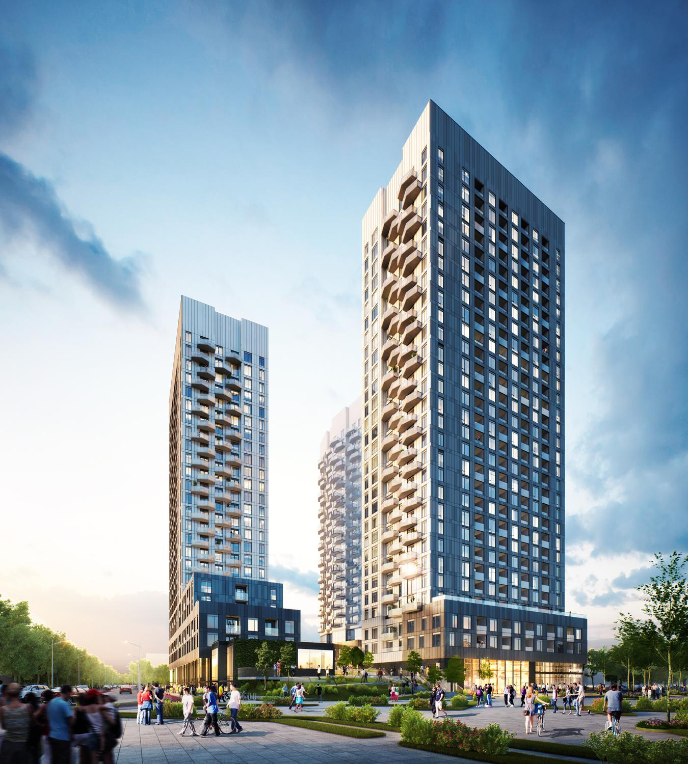 rendering of a three towered condo building with retail in the shared podium, with the towers arranged around an internal courtyard