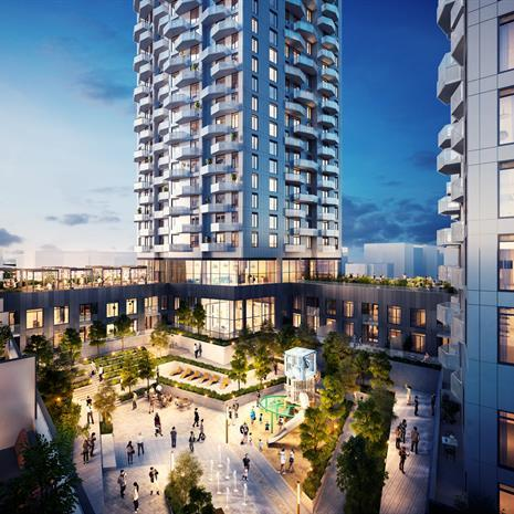 rendering of people enjoying a stepped courtyard with paved pathways and lush greenery in between three condo towers with rounded projecting balconies
