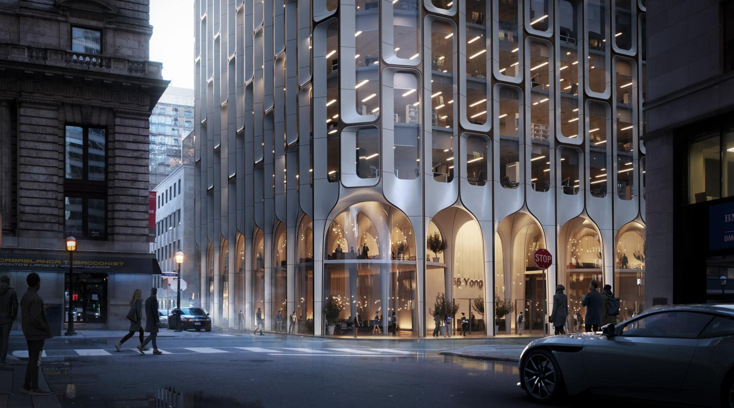 rendering of a office and condo podium with double height retail at grade with large glazed arches in the facade pattern