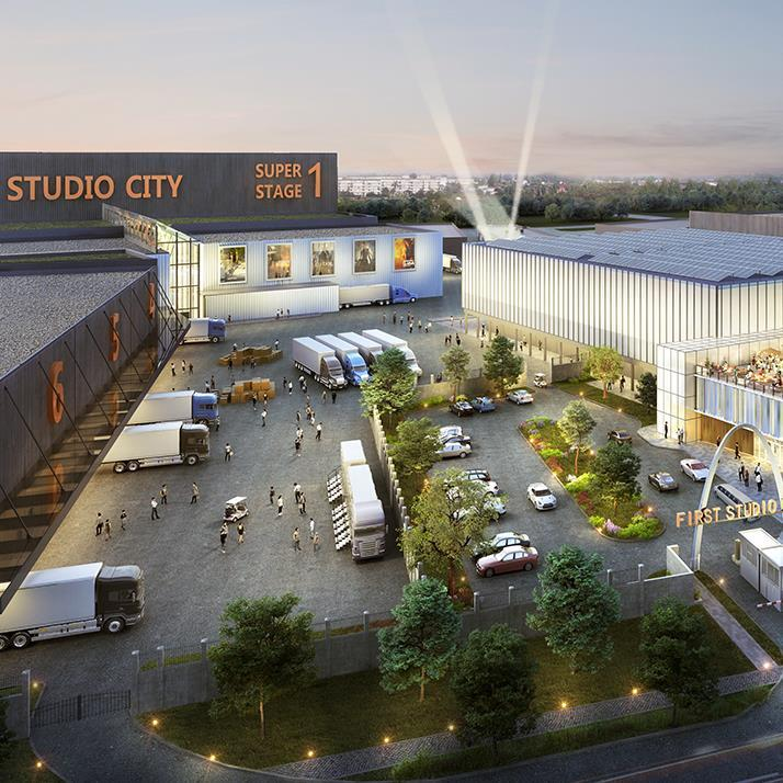 rendering of a large film and television studio lot with multiple sound stages and
