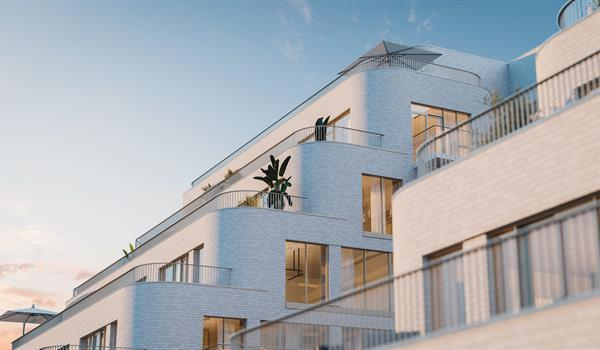 Rendering of outdoor pool at sunset at York Condos