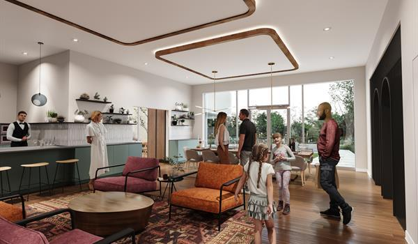 amenity space in condo with barista and high end furniture and design