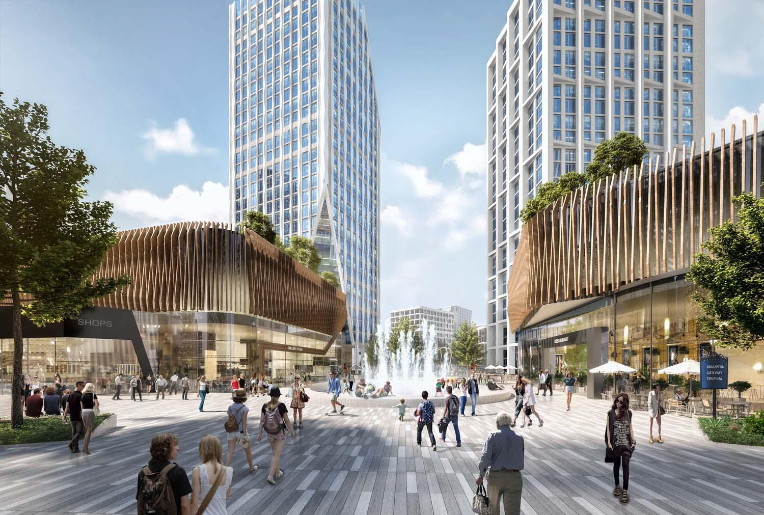 rendering of people enjoying a pedestrian promenade with a fountain, lined with shops and residential towers visible in the background