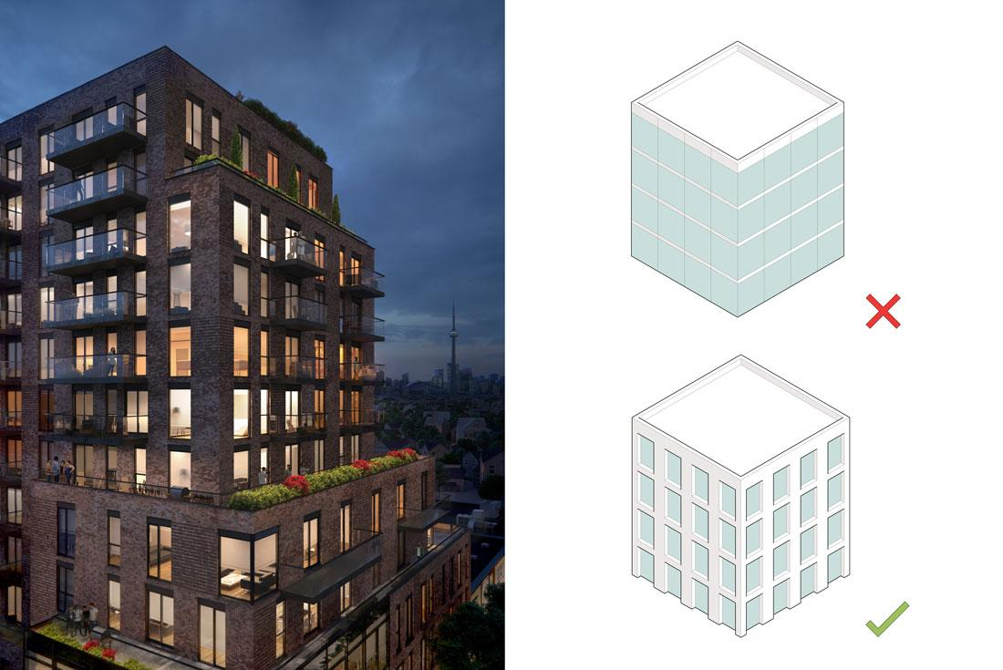 rendering of 900 St Clair beside a diagram of a window wall system with an X beside it and a diagram of a punched window wall system with a checkmark beside it