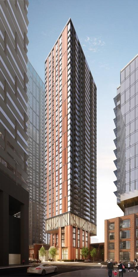 rendering of a highrise condo tower with red brick cladding