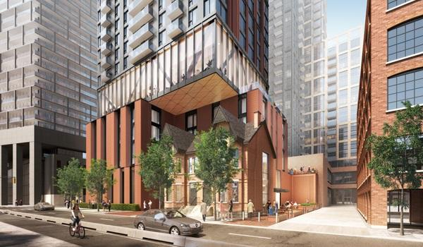 rendering of a high rise condo with red brick like cladding and a podium that cantilevers over restored Victorian houses