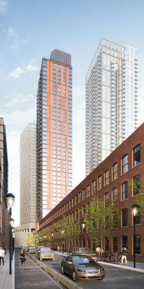 rendering of a highrise condo tower with red brick cladding seen with a heritage red brick warehouse building in the foreground