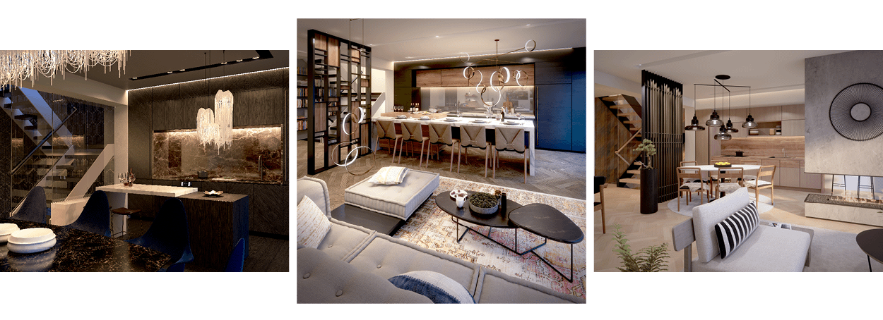three renderings of luxuriously designed townhouse interiors