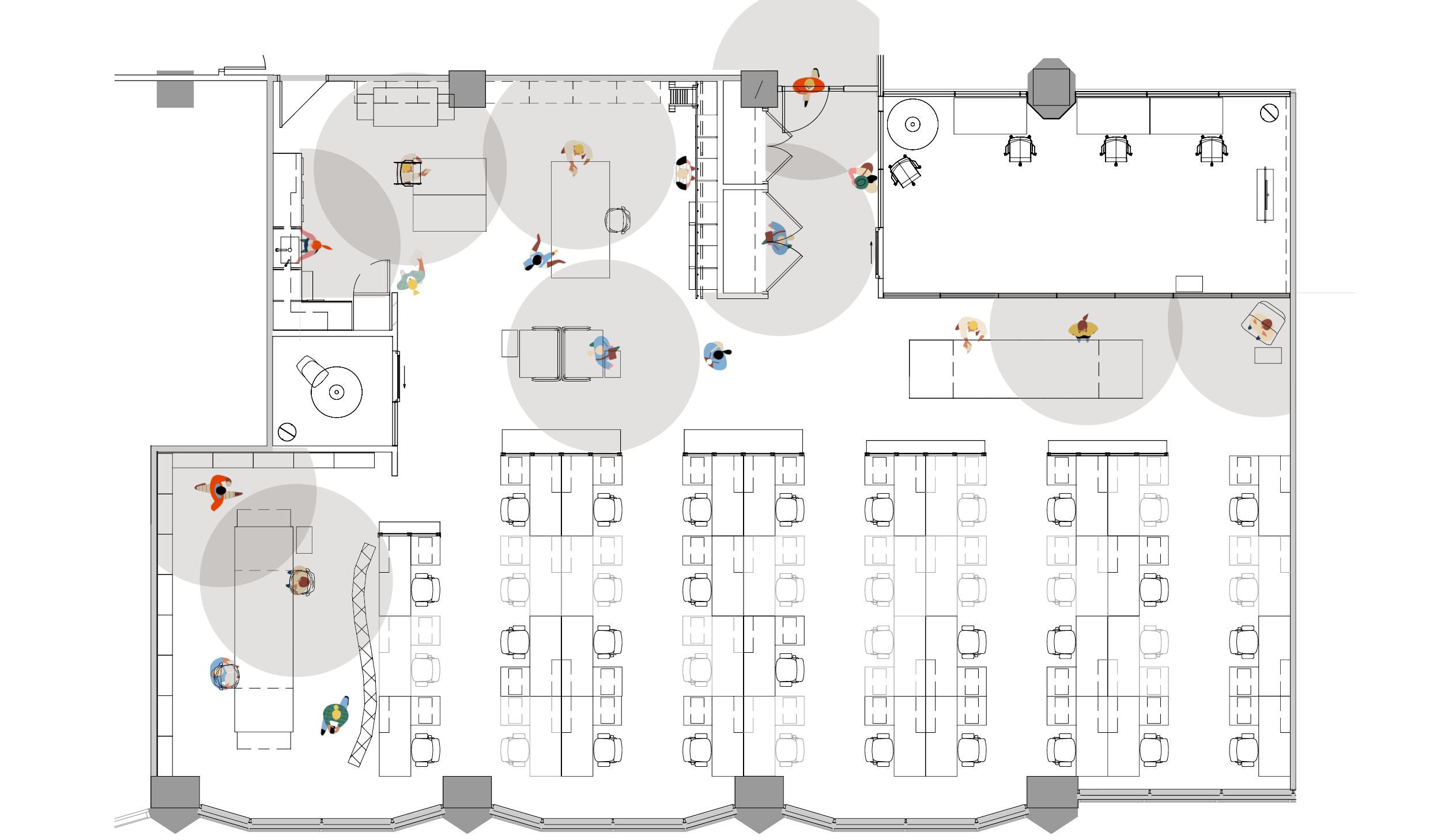 floor plan of an office space showing how many people can use common spaces while maintaining physical distancing