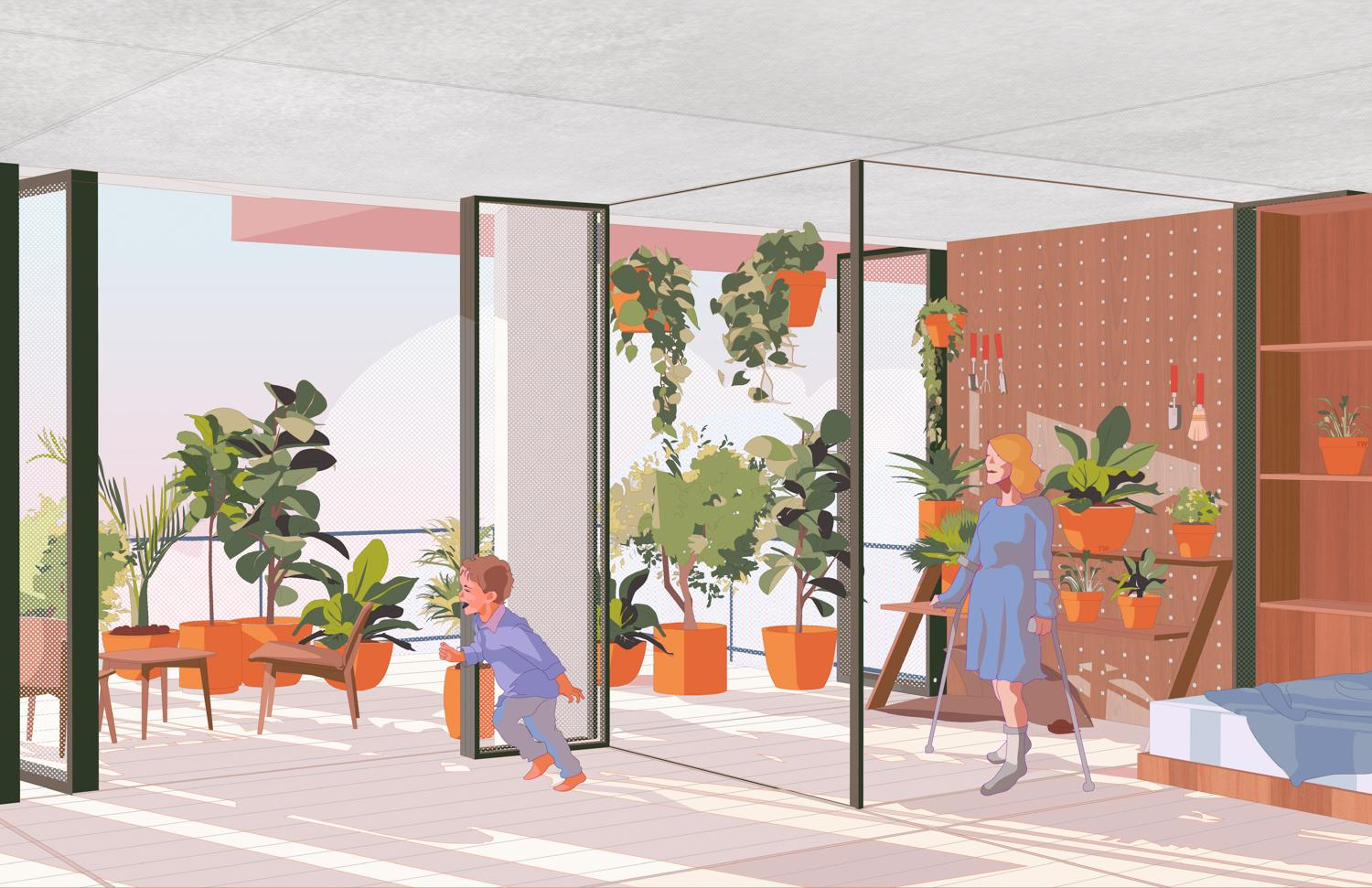 woman on crutches watches child running in apartment with balcony door open beside a glazed sunroom with plants