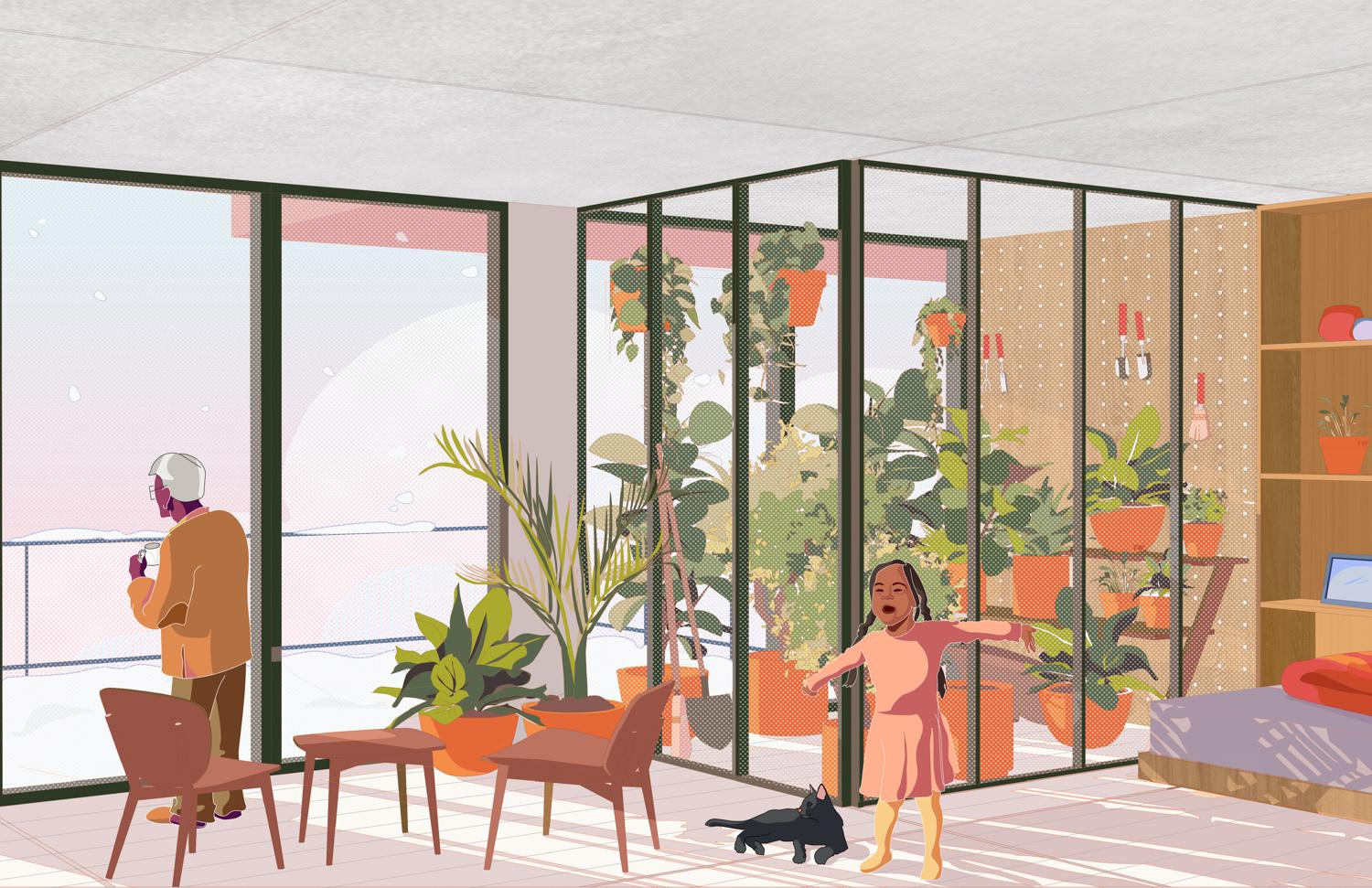 little girl and a grandma in an apartment during winter, with plants in a sunroom