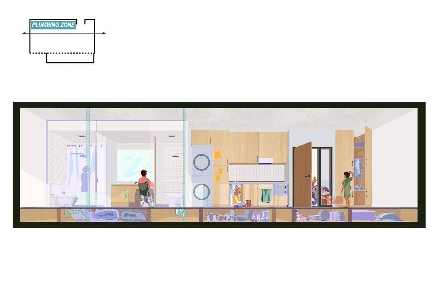 cross section of a residential unit showing under floor storage and all plumbing located along a shared wall
