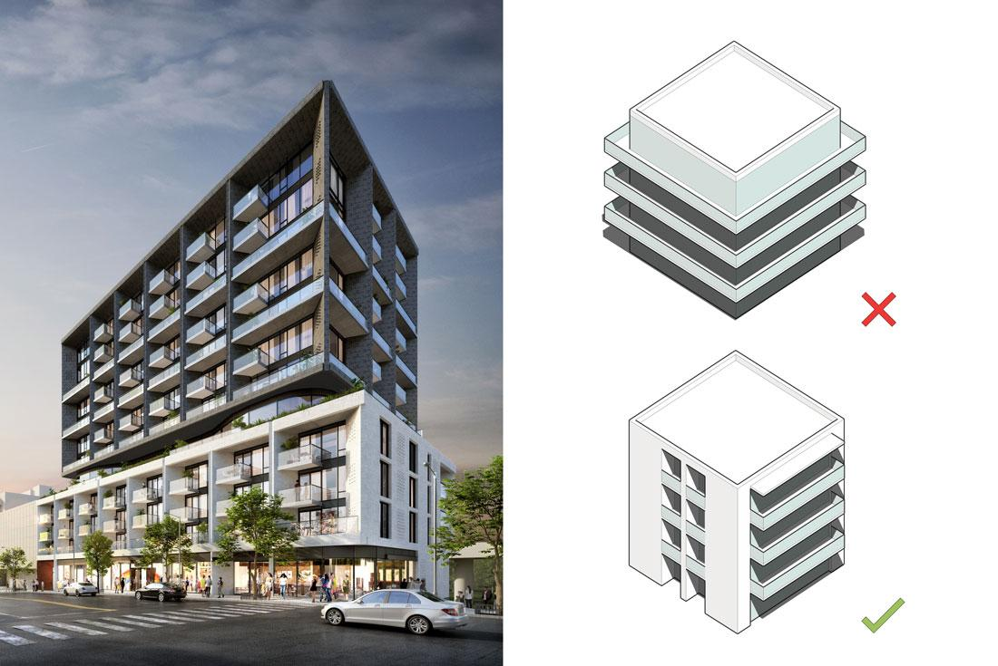 rendering of a midrise condo with a white base and darker brick top half with inset balconies, beside a diagram of wraparound balconies with an X beside it and inset balconies with a checkmark beside it