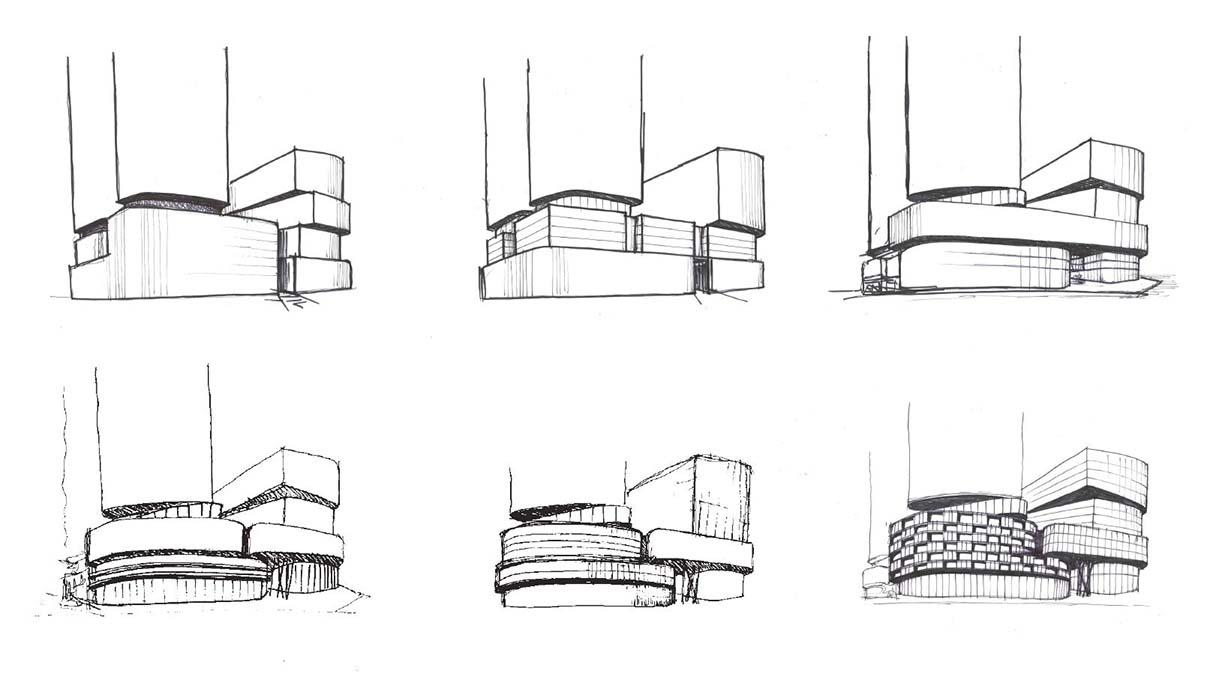 hand sketches of six options forpodium and office building portion massing of 3300 Highway 7