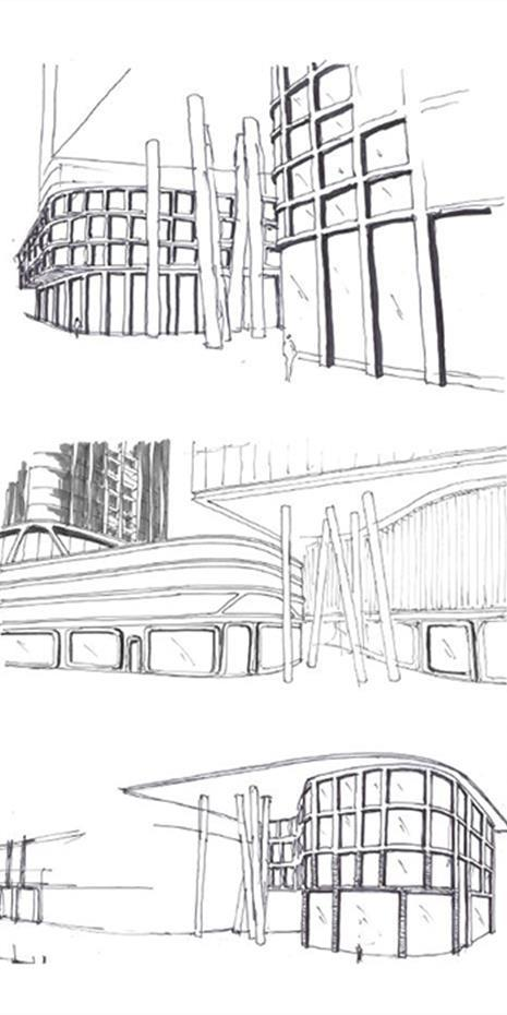 hand sketches of the podium entrance of 3300 Highway 7 showing angled columns holding up the cantilevered portion of the residential tower above