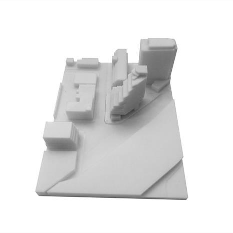 3D print of Queen and Sudbury site with surrounding buildings from the west