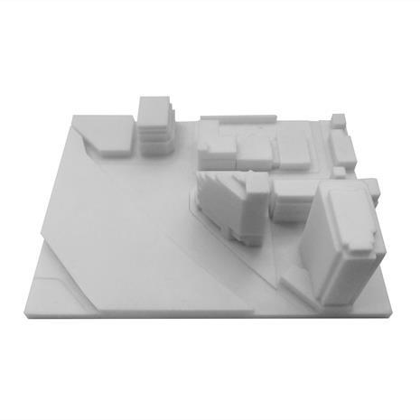 3D print of Queen and Sudbury site with surrounding buildings from the south