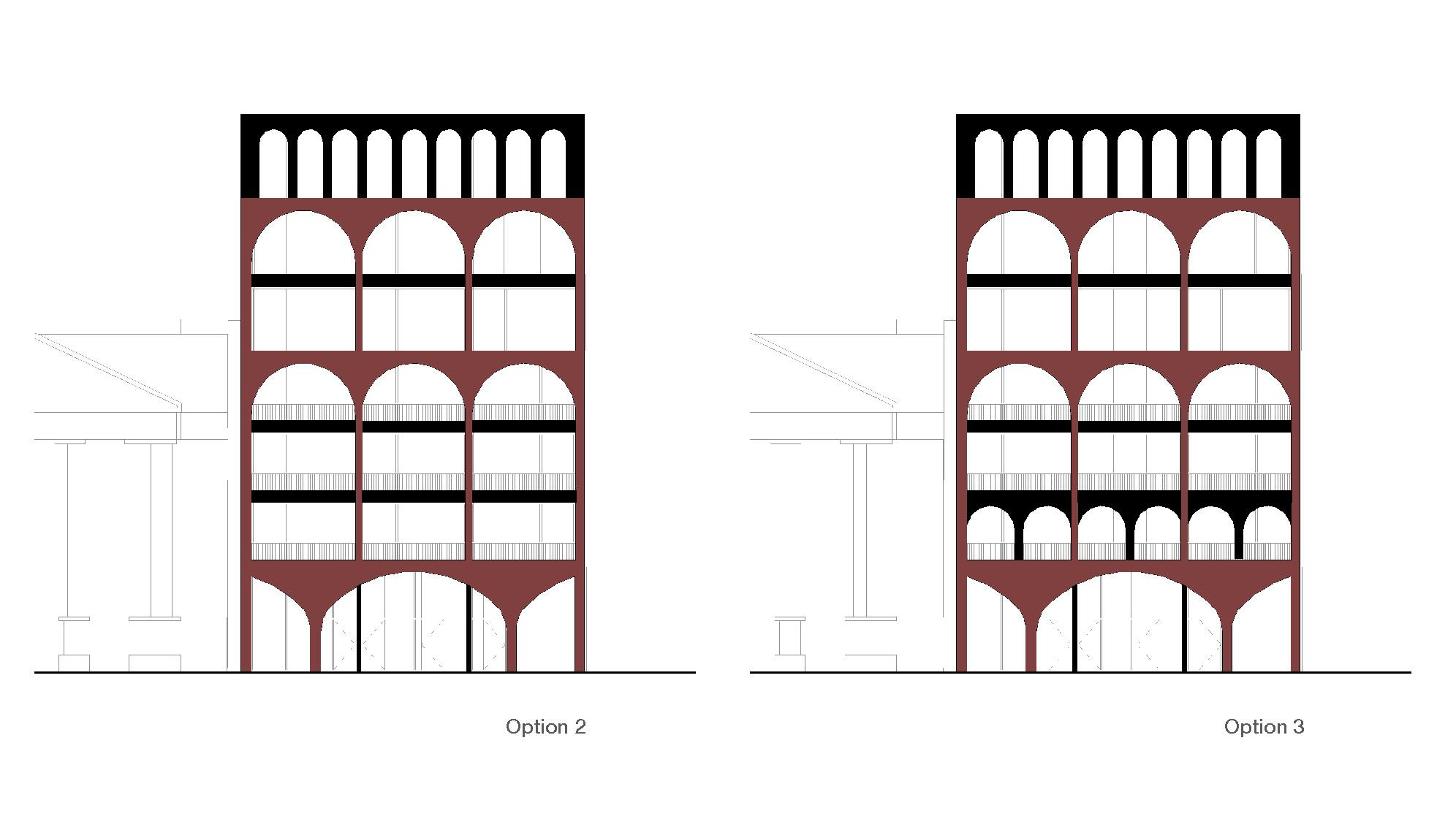 two options of facade designs for a red brick condo with arches