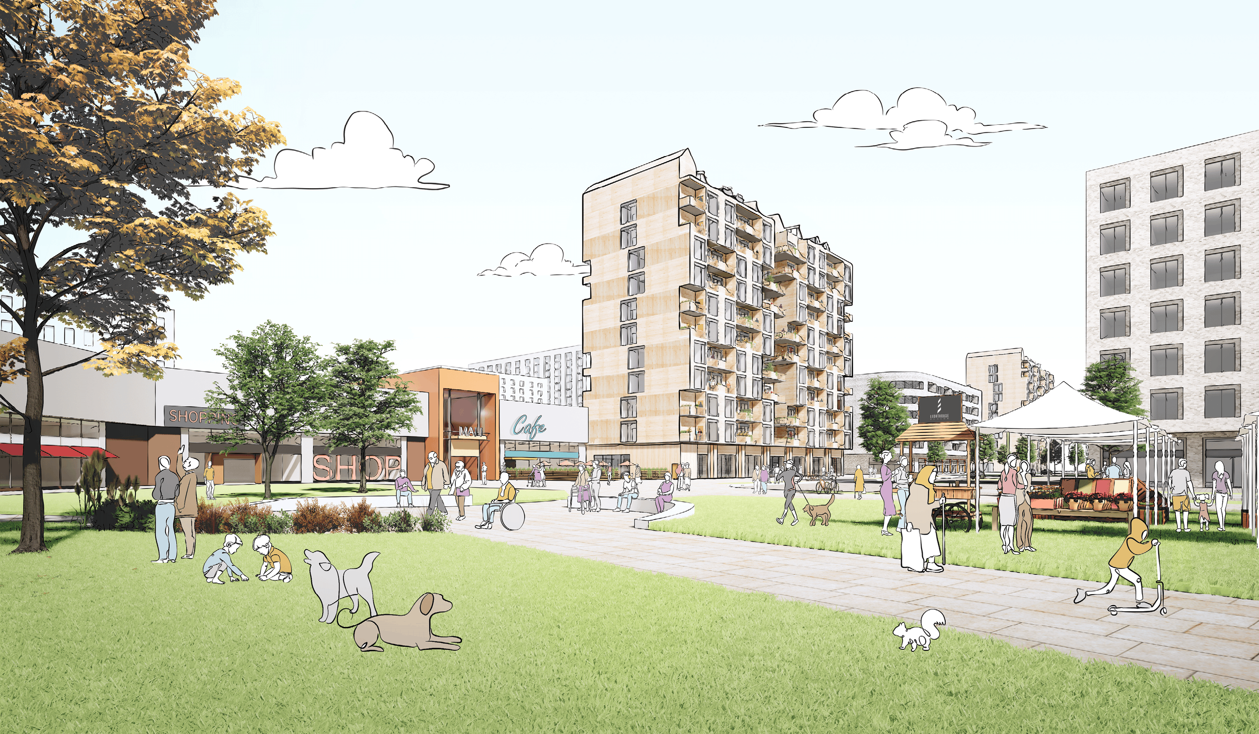 sketch of a multi-unit residential building on the edge of a park with lots of different people enjoying the public space
