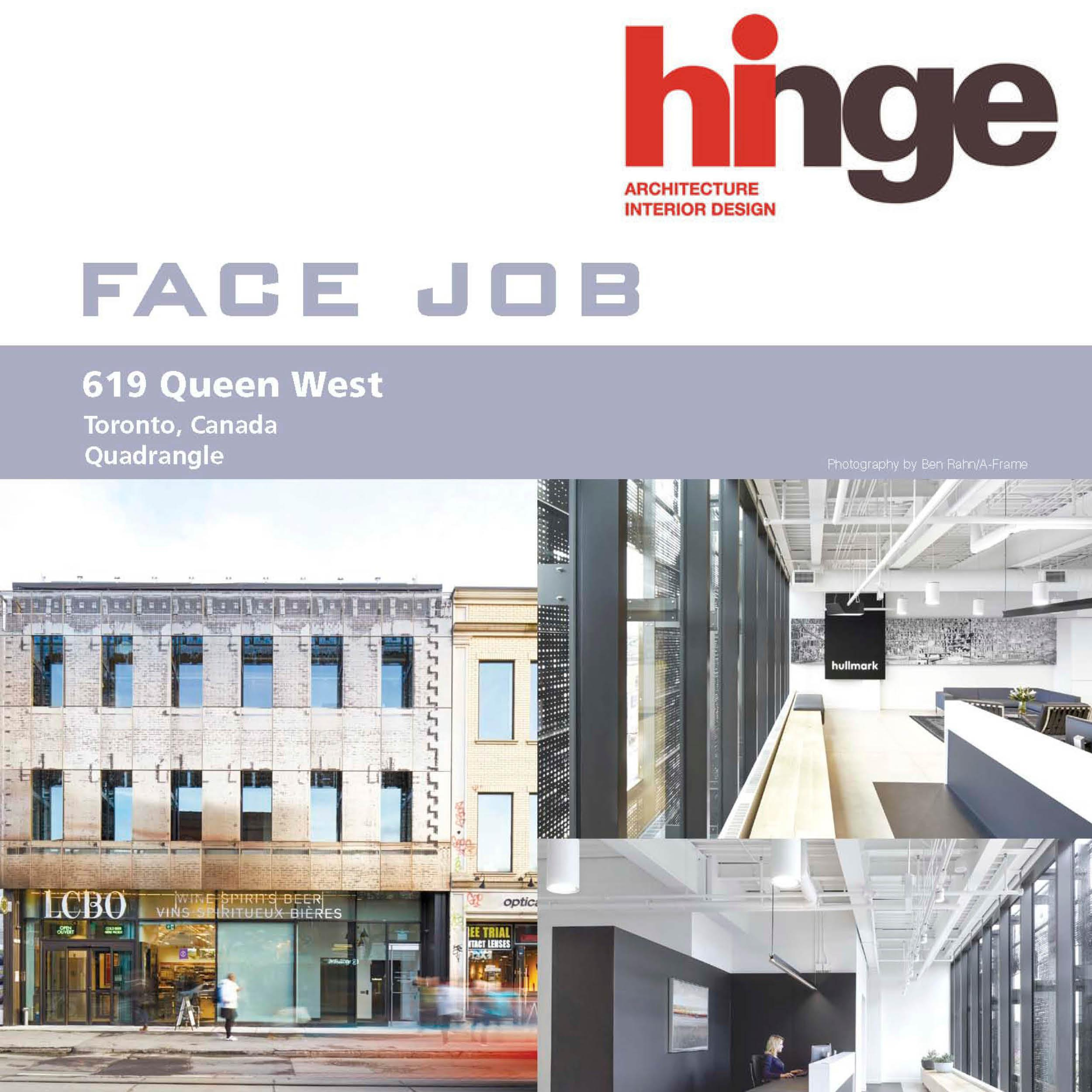 "Article Headline ""Face Job"" beside the Hinge magazine logo and a picture of the 619 Queen Street exterior facade."