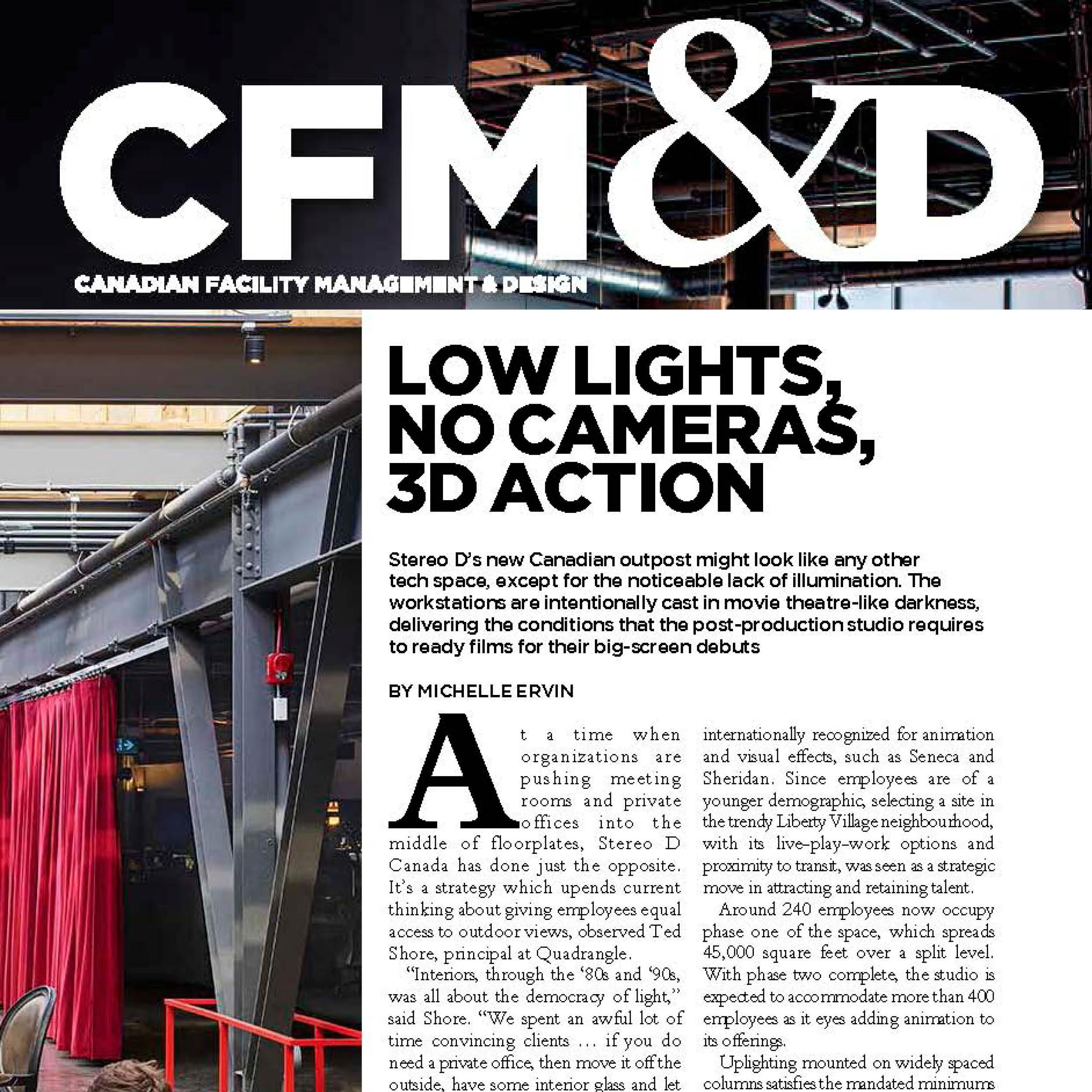 "The CFM&D logo and first paragraphs of the Stereo D article under the headline ""Low lights, no cameras, 3D action"""