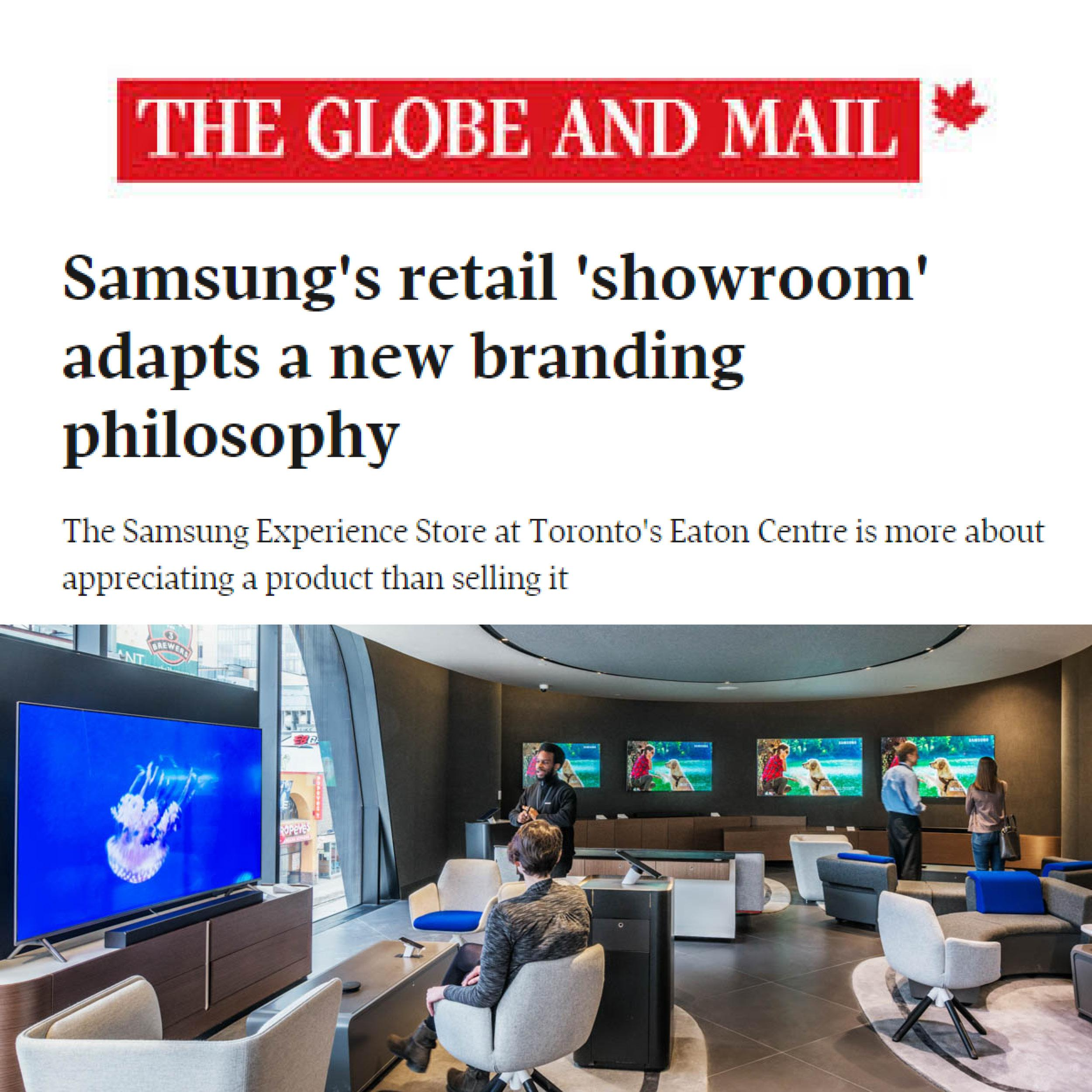 thumbnail showing Globe and Mail headline and photo of Samsung Experience Store in the Eaton Centre