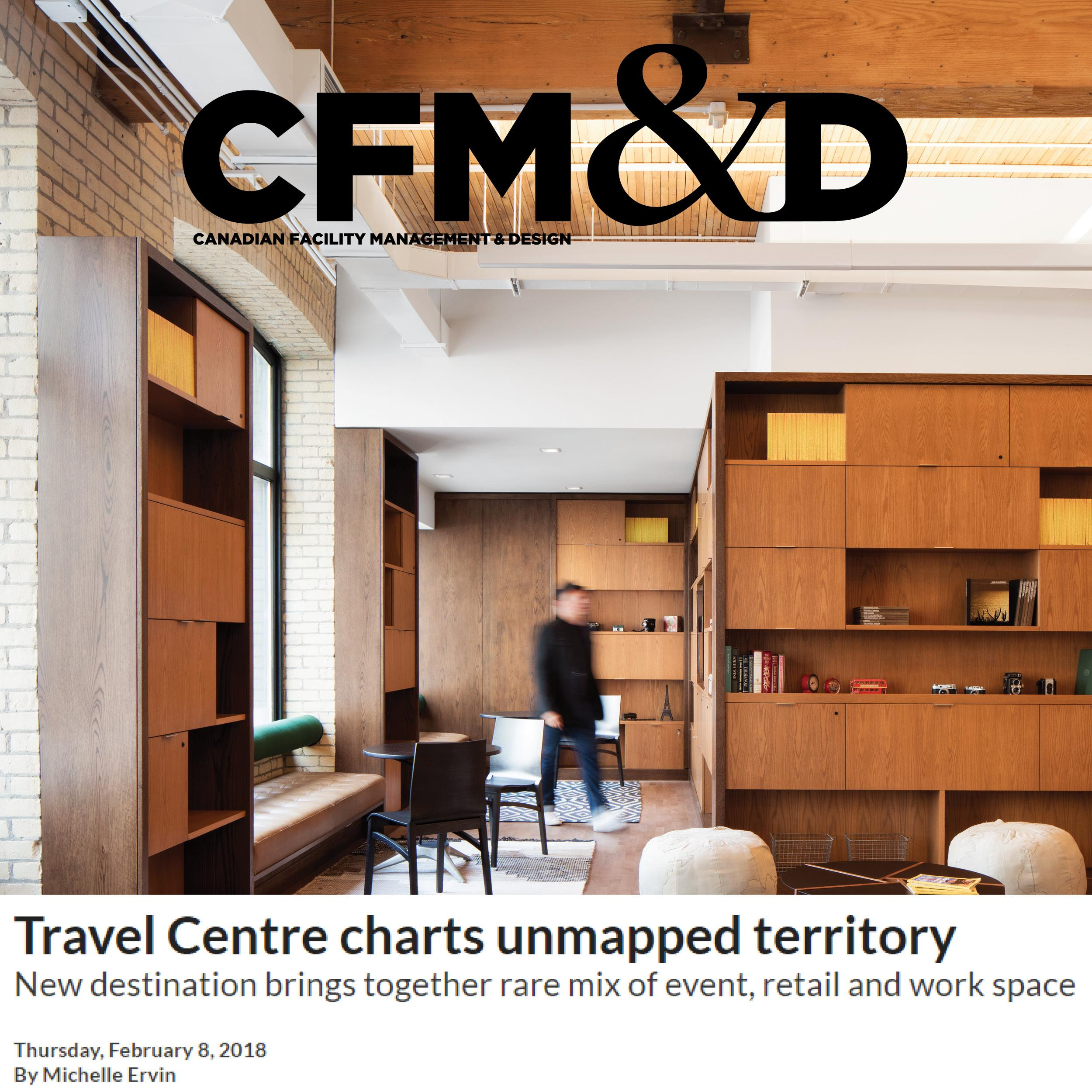thumbnail showing CFM&D logo superimposed over a photo of the Travel Centre interiors
