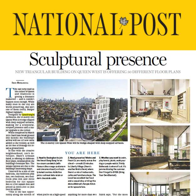 National Post newspaper article titled Sculptural Presence with a rendering of 1181 Queen Street West