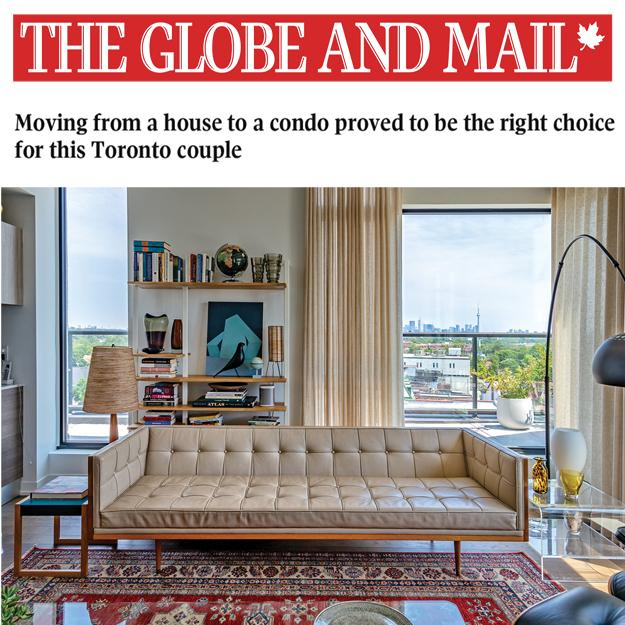 thumbnail image of the Globe and Mail logo above a photo of the interior of a stylishly decorated condo