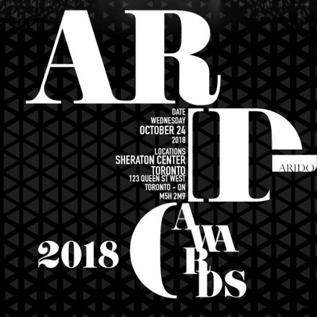 black and white ARIDO Awards 2018 logo