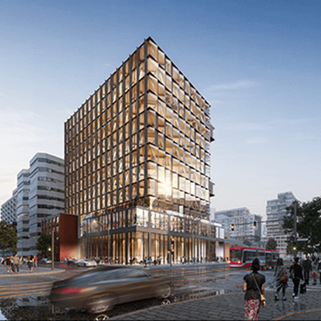 rendering of a 13-storey modern office building with dark matte clad fins and glazing revealing mass timber structure inside
