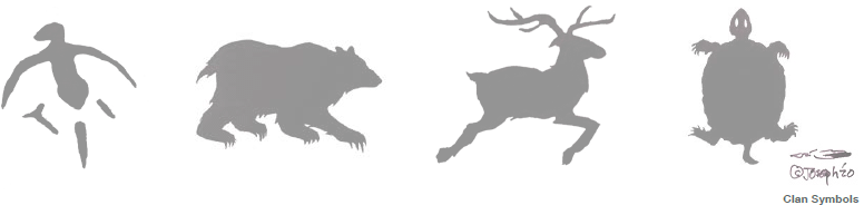 Joseph Sagaj clan symbol art including a bear, a caribou, a turtle and a bird