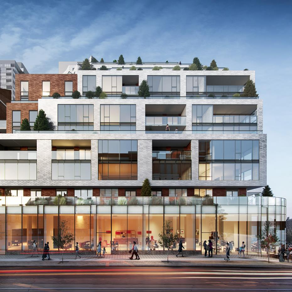 Rendering of a mid-rise condo building with a glass facade retail podium, white brick, and balconies that step back with each elevation.
