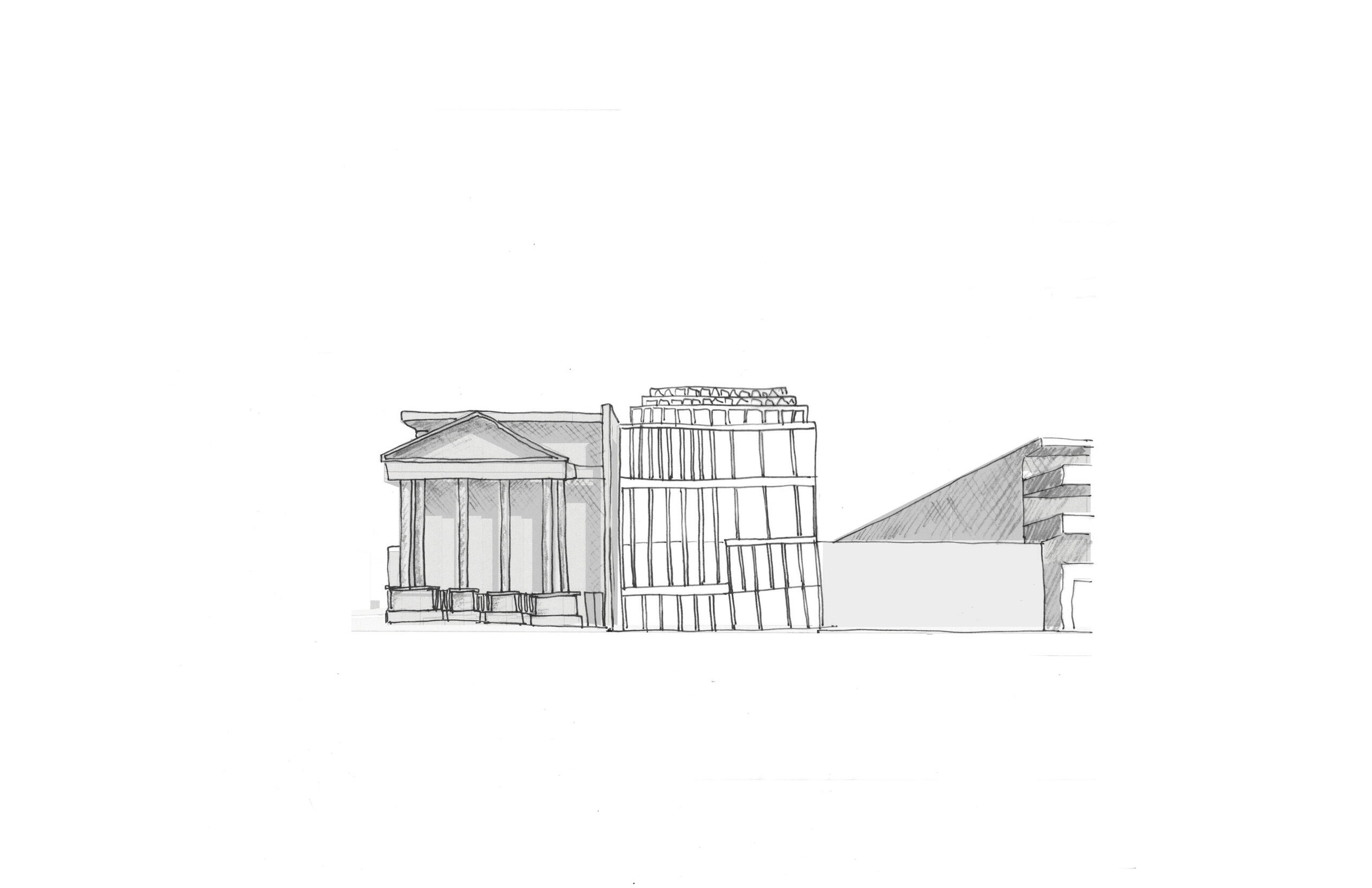 early concept sketch of Biblio showing block patterned facade rather than the current arches