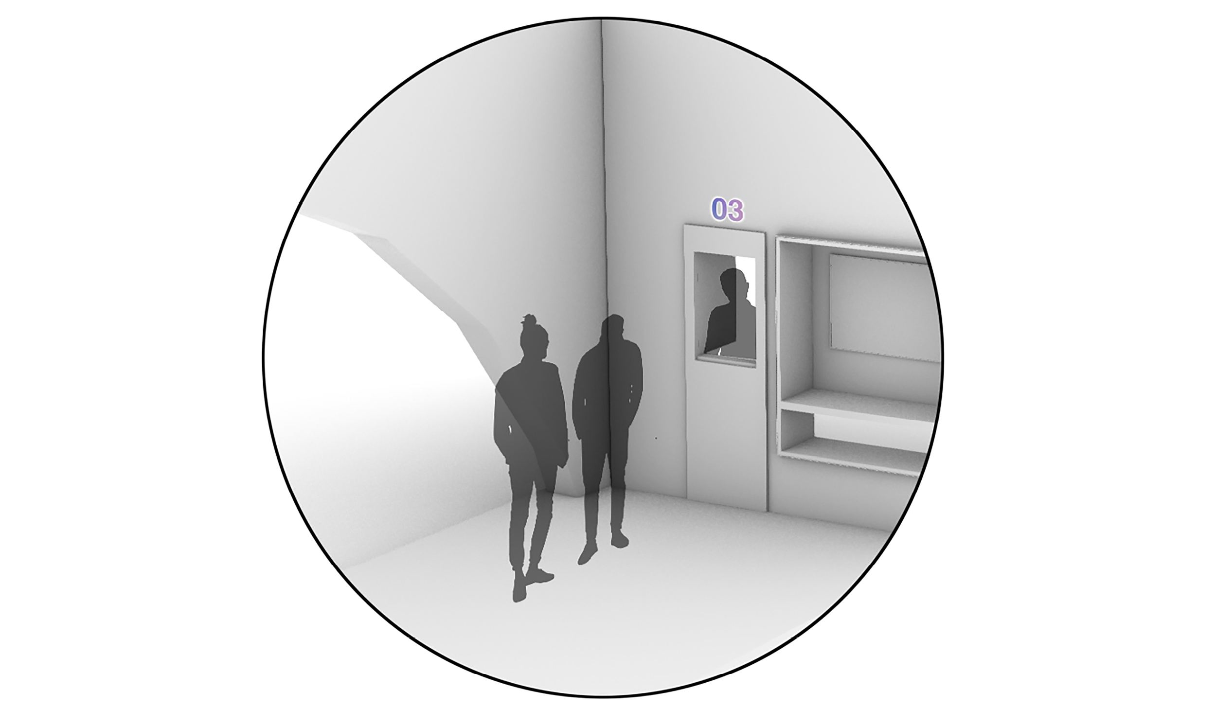 diagram of people waiting at a small pickup window facing a sidewalk