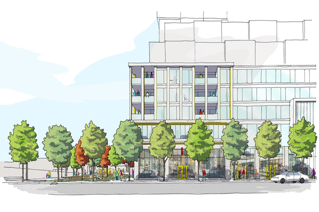 Colourful sketch of the Dufferin Grove Village elevation showing pedestrians walking by and green landscaping.